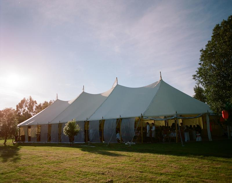 We had a traditional white canvas pole marquee erected next to the house, in which to host our wedding breakfast.