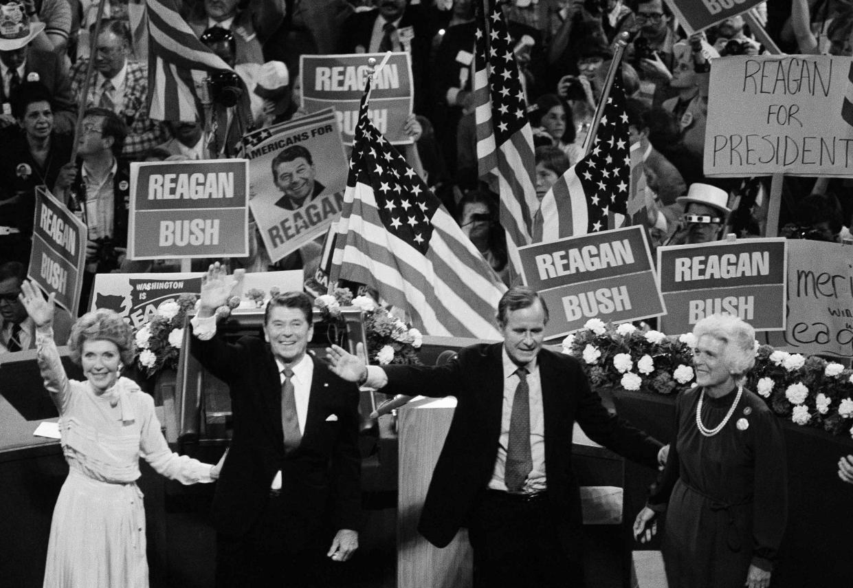 Republican candidate Ronald Reagan and running mate George Bush, with wives Nancy and Barbara, at the 1980 Republican National Convention. (Photo: AP)