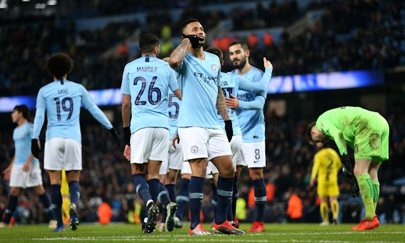 Gabriel Jesus celebrates the fifth of Manchester City's nine goals against Burton Albion in the Carabao Cup semi-final of 2018-19.