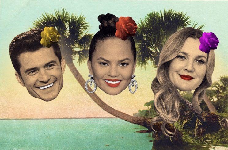 Orlando Bloom, Chrissy Teigen, and Drew Barrymore are among the spring breakers. (Photos: Getty Images/ Illustration: Danny Miller)