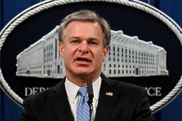 FILE PHOTO: FBI Director Christopher Wray speaks during a press conference at the Justice Department in Washington, D.C., U.S., Oct. 7, 2020. (Jim Watson/Pool via REUTERS)