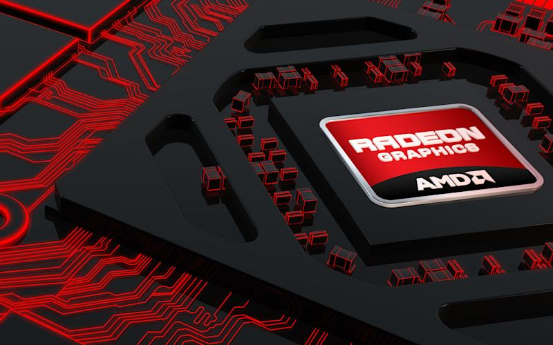 Digital rendering of an AMD Radeon logo on a chip surrounded by red traces on a black PCB.