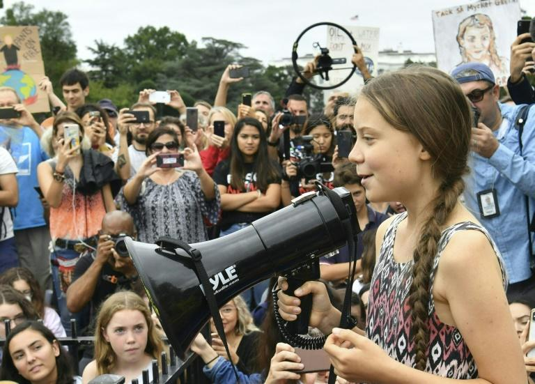 Swedish environment activist Greta Thunberg speaks at a climate protest outside the White House in Washington, DC on September 13, 2019