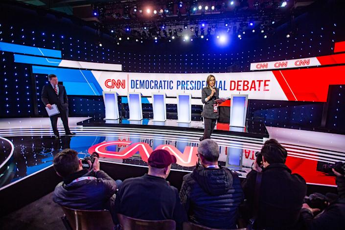 Inside Sheslow Auditorium where preparation is underway for the CNN/Des Moines Register Democratic presidential debate Tuesday, Jan. 14, 2020.