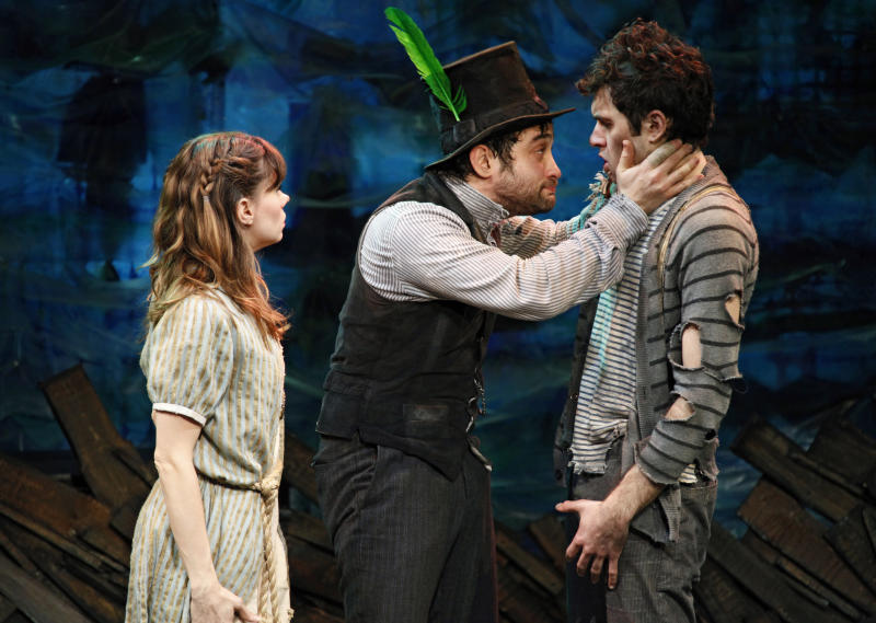 "In this publicity image released by Richard Kornberg & Associates, from left, Adam Chanler-Berat and Christian Borle are shown in a scene from ""Peter and the Starcatcher,"" directed by Roger Rees and Alex Timbers, performing off-Broadway at New York Theatre Workshop in New York. (AP Photo/Richard Kornberg & Associates, Joan Marcus)"