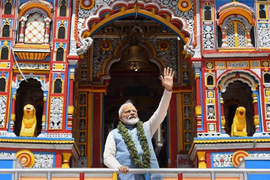 PM Narendra Modi after paying obeisance at Badrinath Temple, during his two-day pilgrimage to Himalayan shrines, in Chamoli district. (Image: PTI)