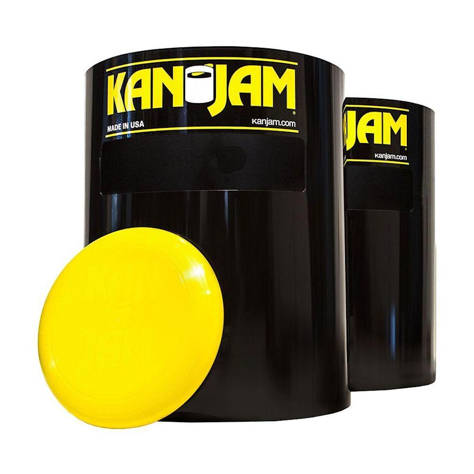 "<p><strong>Kan-Jam</strong></p><p>amazon.com</p><p><strong>$35.99</strong></p><p><a href=""https://www.amazon.com/dp/B001RJ4Q2G?tag=syn-yahoo-20&ascsubtag=%5Bartid%7C2089.g.1576%5Bsrc%7Cyahoo-us"" rel=""nofollow noopener"" target=""_blank"" data-ylk=""slk:Shop Now"" class=""link rapid-noclick-resp"">Shop Now</a></p><p>How are your disc-throwing skills these days? A few rounds of Kan-Jam are sure to sharpen your aim. This four-player game is comprised of two flexible plastic cans with an open top and slotted front. </p><p>The goal is to hit the can with the disk, shoot it through the slot, or have your teammate assist you in doing either to gain points. First team to get 21 points wins — and yes, this is a game you can definitely play with a cold beverage in your hand.</p>"