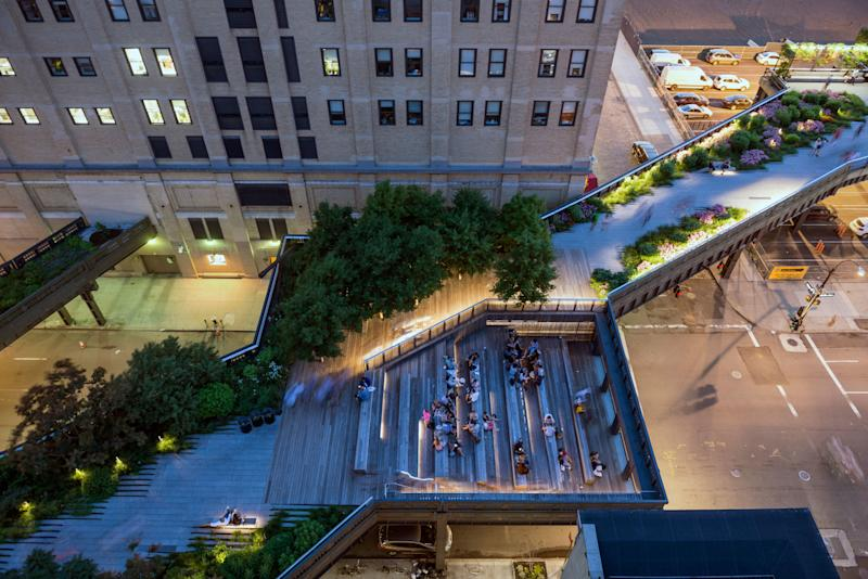 The High Line, seen from above at night.