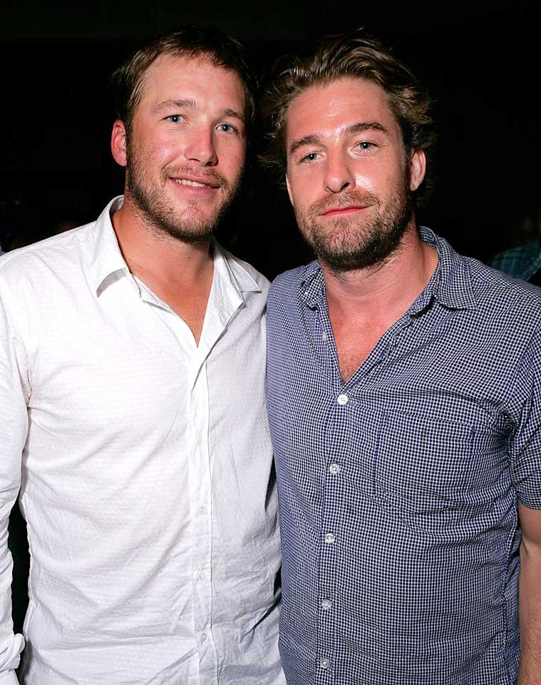 "Alpine skier Bode Miller and his buddy Scott Speedman (""Felicity"") make quite the dynamic duo. Todd Williamson/<a href=""http://www.wireimage.com"" target=""new"">WireImage.com</a> - July 31, 2008"