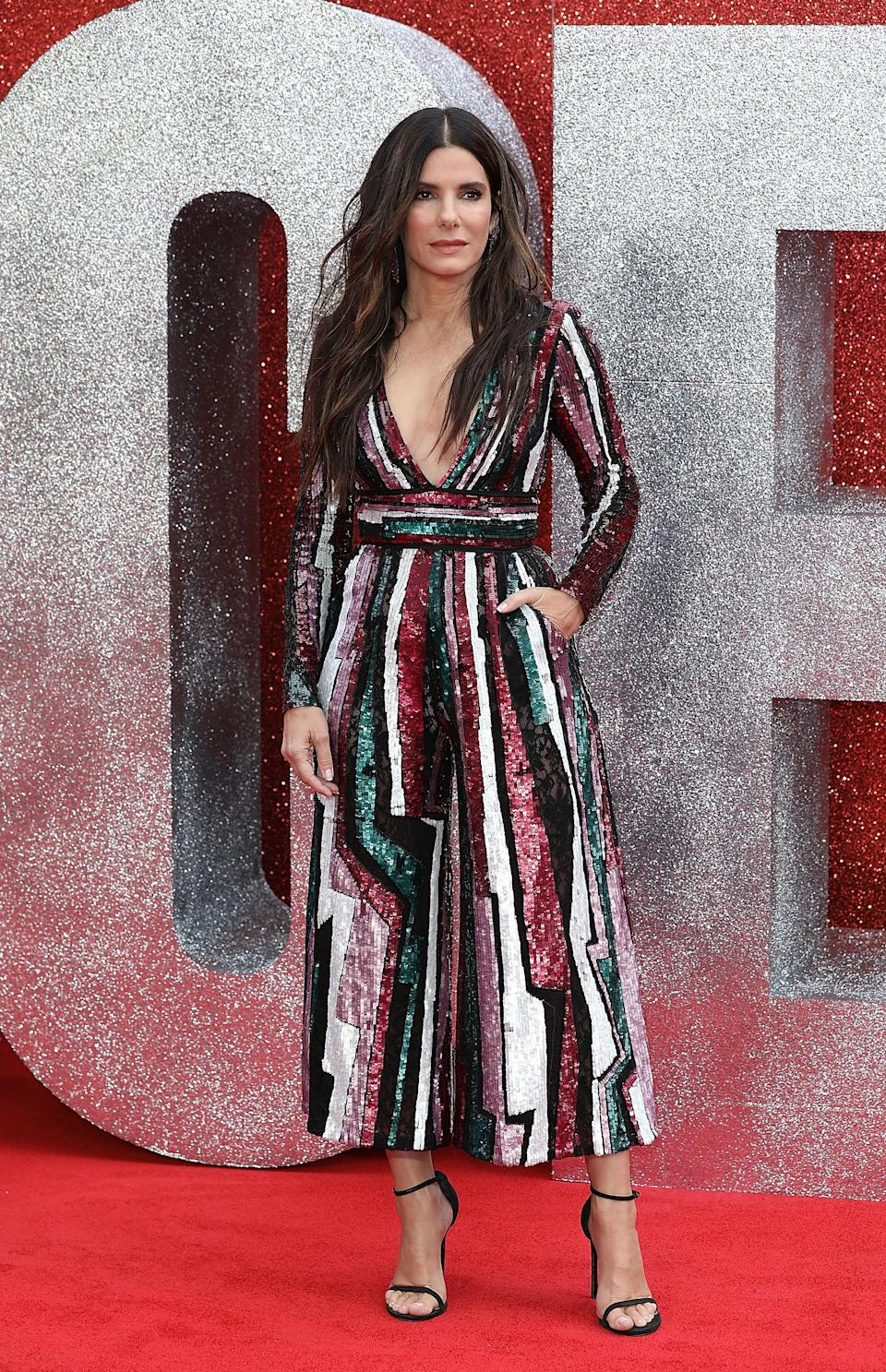 <p>The award-winning actress donned a sequin, striped number by Zuhair Murad for the event. <em>[Photo: Getty]</em> </p>