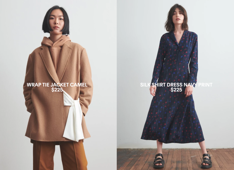 "A women's jacket and dress from Thakoon Panichgul's new direct-to-consumer fashion line ""Thakoon."" Each item in the line costs under $225 USD."