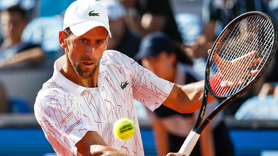 Seen here, Novak Djokovic hits a backhand during a match in the Adria Tour.