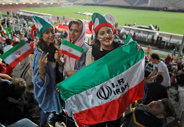 With rare exception, Iranian women have been banned from football stadiums where men are playing since the 1979 Islamic revolution (AFP Photo/ATTA KENARE)