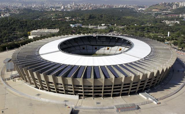 An aerial view of the Estadio Mineirao, one of the stadiums hosting the 2014 World Cup soccer matches, in Belo Horizonte, April 10, 2014. REUTERS/Washington Alves (BRAZIL - Tags: SPORT SOCCER WORLD CUP)