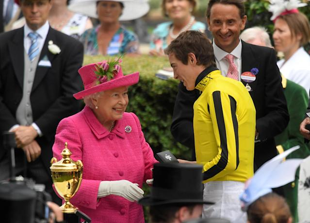 Horse Racing - Royal Ascot - Ascot Racecourse, Ascot, Britain - June 22, 2017 Britain's Queen Elizabeth with James Doyle after he won the 4.20 Gold Cup on Big Orange REUTERS/Toby Melville