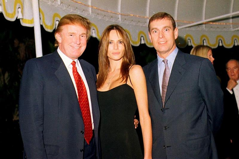 From left: President Donald Trump, First Lady Melania Trump (then Melania Knauss) and Prince Andrew at Mar-a-Lago in February 2000. | Davidoff Studios/Getty