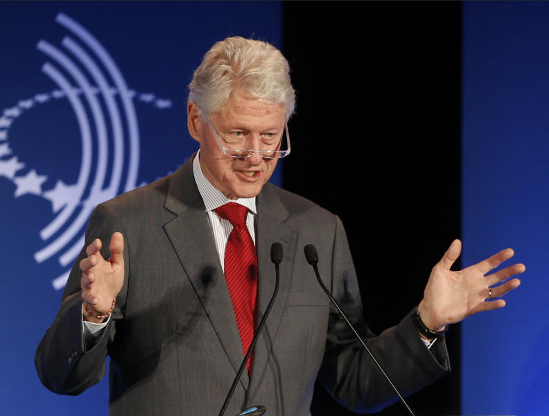 "FILE - In this Monday, Dec. 9, 2013, file photo, former President Bill Clinton speaks at a CGI Clinton Global Initiative Latin America event at the Copacabana Palace in Rio de Janeiro. During Jay Leno's two-decade tenure as NBC's ""Tonight"" show host, the comic has cracked a total of 4,607 jokes at the expense of President Clinton. The Washington-based Center for Media and Public Affairs counted and catalogued nearly 44,000 jokes Leno made about politics and public affairs during his time at ""Tonight,"" which ends Thursday. (AP Photo/Silvia Izquierdo, File)"