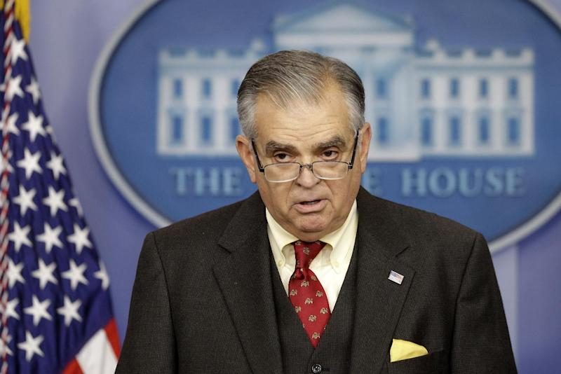 FILE – In this Feb. 22, 2013, file photo Transportation Secretary Ray LaHood briefs reporters about the automatic budget cuts at the White House in Washington. President Barack Obama and his officials are doing their best to drum up public concern over the shock wave of spending cuts that could strike the government in just days. So it's a good time to be alert for sky-is-falling hype. (AP Photo/Charles Dharapak, File)
