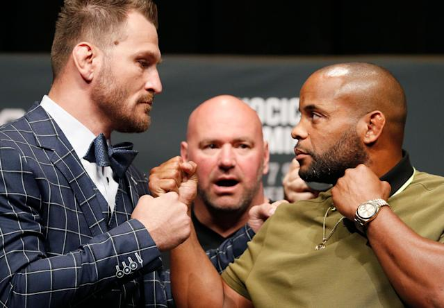 Stipe Miocic and Daniel Cormier will meet again with the heavyweight title on the line at UFC 241 in August. (AP Photo/John Locher)