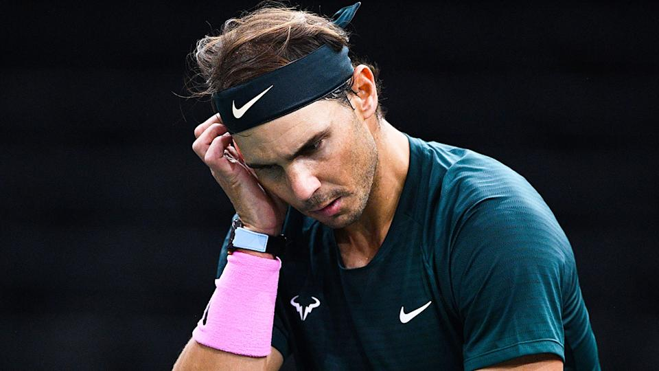Pictured here, Rafael Nadal lost to Alexander Zverev in the semi-finals of the 2020 Paris Masters.