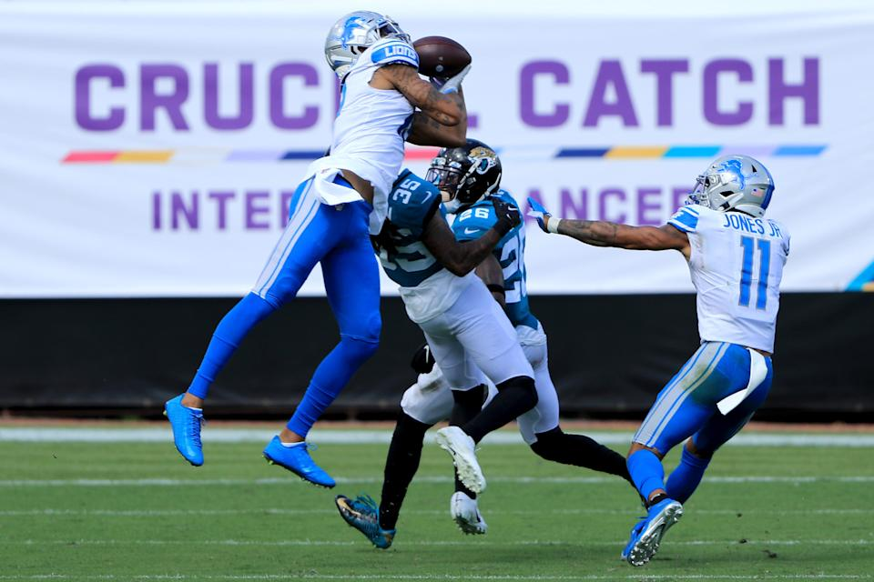 Kenny Golladay of the Detroit Lions catches a pass against the Jacksonville Jaguars during the third quarter at TIAA Bank Field on Oct. 18, 2020 in Jacksonville, Florida.