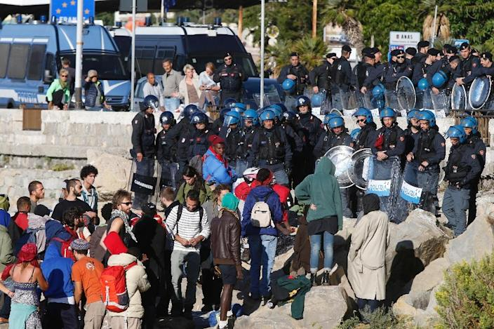 The camp of around 50 people at Ventimiglia -- the town which became a flashpoint at the start of Europe's migrant crisis earlier this year -- was cleared because its occupants were using electricity and water without paying for it, police said (AFP Photo/Valery Hache)