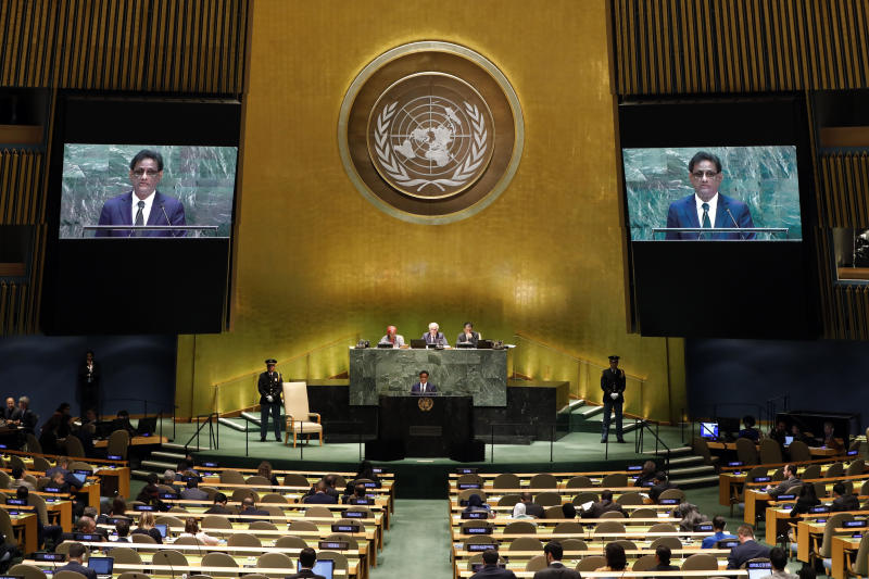 Paramasivum Pillay Vyapoory, President of Republic of Mauritius, addresses the 74th session of the United Nations General Assembly, Friday, Sept. 27, 2019. (AP Photo/Richard Drew)