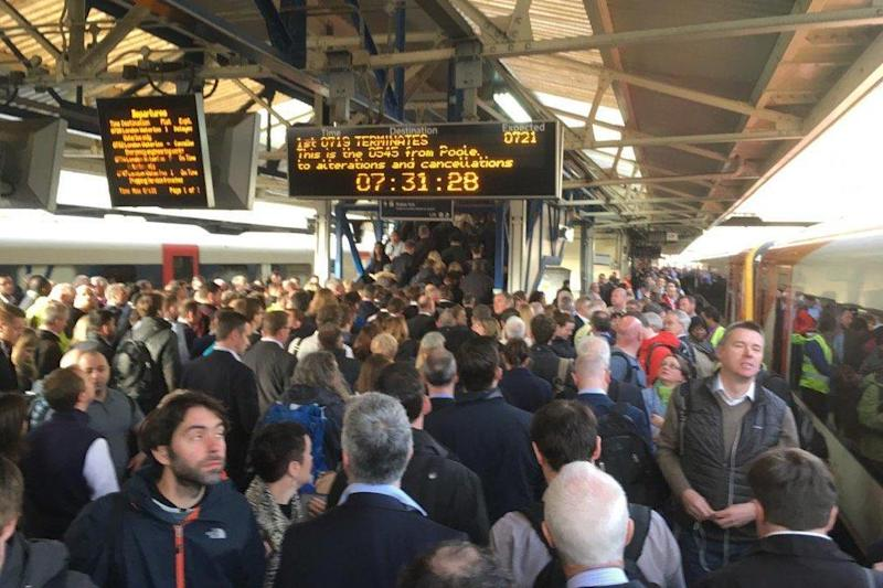 Train chaos: Crowds at Woking station on Monday morning