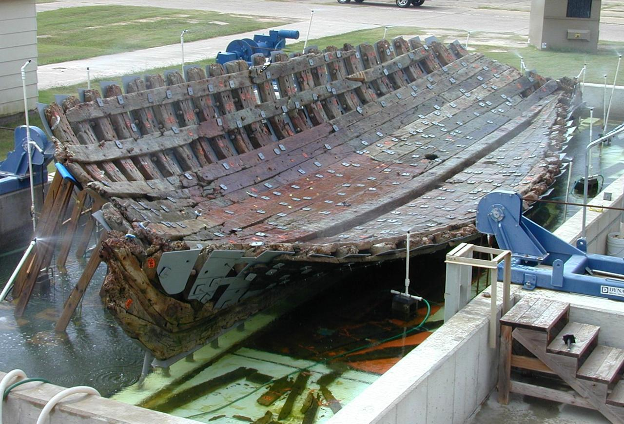 This 2001 photo provided by Texas A&M University shows the hull of the 17th-century French ship La Belle at the Texas A&M University Center for Maritime Archaeology and Conservation in Bryan, Texas. Researchers plan to rebuild the 54 ½-foot vessel, which will become the centerpiece of the Bob Bullock Texas State History Museum in Austin. The supply ship was built in 1684 and sank two years later in a storm on Matagorda Bay, about midway between Galveston and Corpus Christi, Texas. (AP Photo/Texas A&M University)