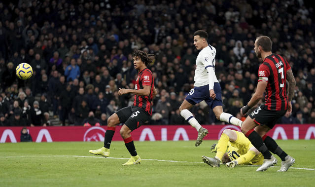 Tottenham Hotspur's Dele Alli scores his side's second goal of the game during the English Premier League soccer match between Tottenham Hotspur and AFC Bournemouth at Tottenham Hotspur Stadium, London, Saturday, Nov. 30, 2019. (John Walton/PA via AP)