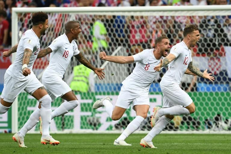 Off to a flyer: Kieran Trippier put England in front in Moscow