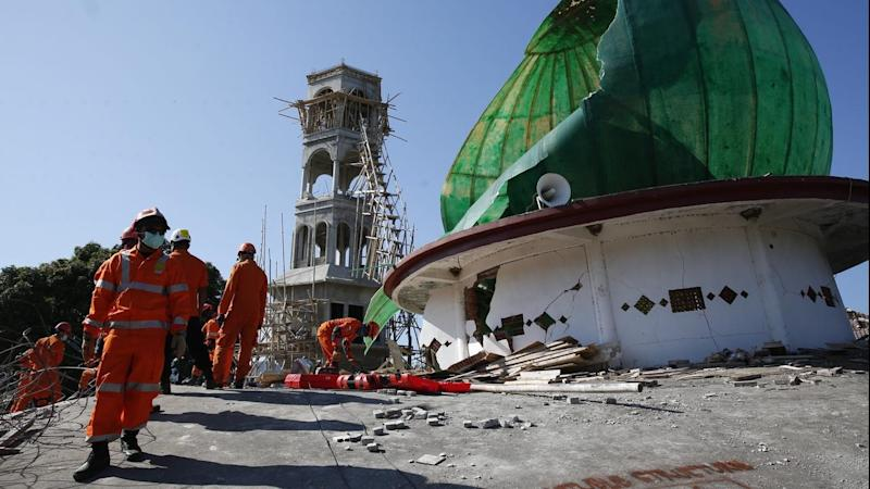 Rescuers are searching for survivors after a mosque collapsed during an earthquake in Lombok
