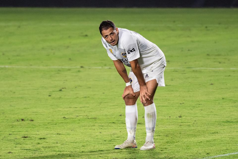 "Javier ""Chicharito"" Hernandez has been a disappointment so far for the Galaxy. (Photo by Shaun Clark/Getty Images)"