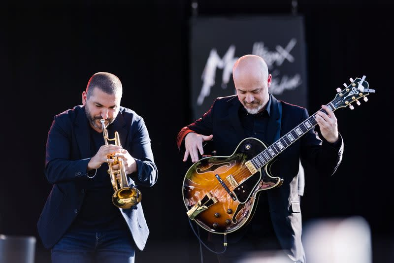 French-Lebanese trumpeter Maalouf and Belgian guitar player Delporte perform during the 55th Montreux Jazz Festival in Montreux