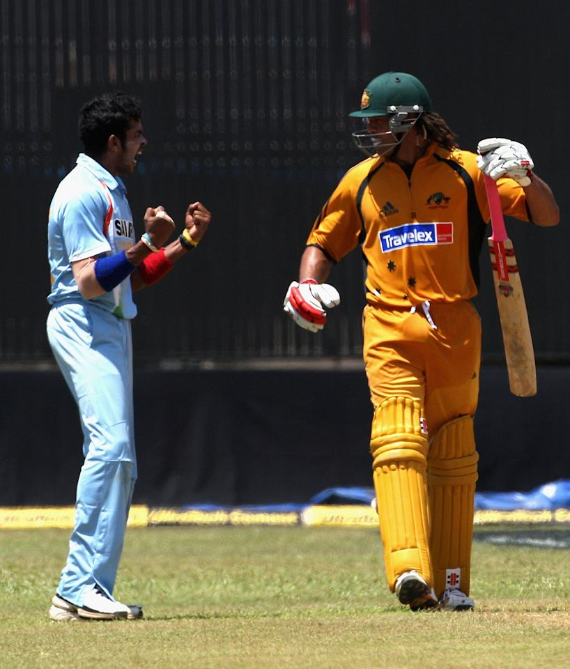 COCHIN (KOCHI), INDIA - OCTOBER 02:  OCTOBER 02:  Shanthakumaran Sreesanth of India gives Andrew Symonds of Australia a send off after dismissing him during the second one day international match between India and Australia at the Jawaharlal Nehru Stadium on October 2, 2007 in Cochin, India.  (Photo by Hamish Blair/Getty Images)