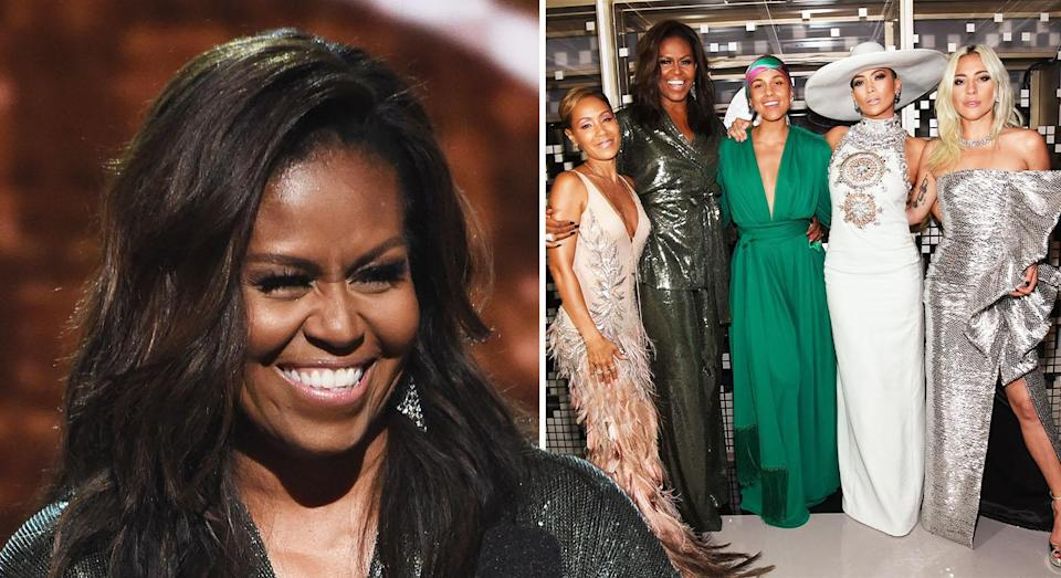 Michelle Obama pictured with Jada Pinkett Smith (far left), Alicia Keys (middle), J Lo (second to right) and Lady Gaga (far right). [Photo: Getty]