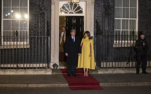 The Trumps paused for a picture before entering Number 10 Downing Street - Credit: Simon Dawson /Bloomberg