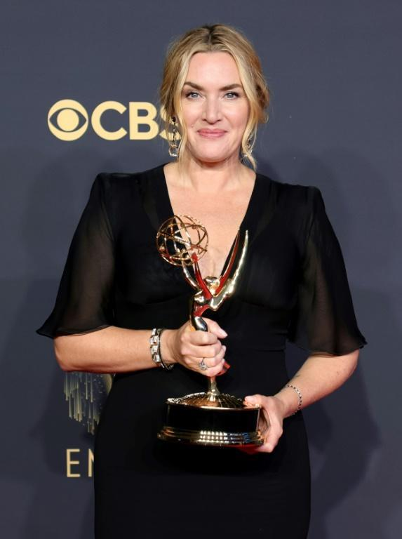 Emmy winner Kate Winslet opted for a black Armani gown with sleeves (AFP/Rich Fury)