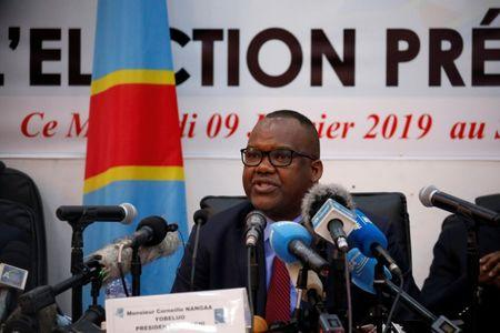 Corneille Nangaa, President of Congo's National Independent Electoral Commission (CENI), speaks during a press conference announcing the results of the presidential election in Kinshasa, Democratic Republic of Congo, January 10, 2019. REUTERS/Jackson Njehia