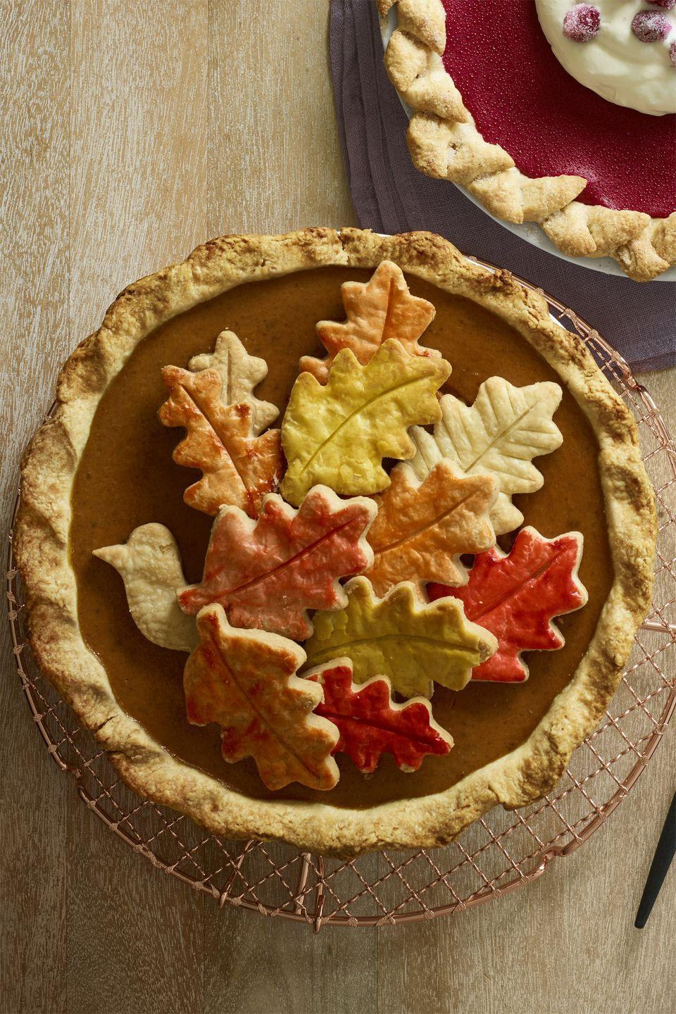 "<p>Decorate this spicy-sweet pie however you want, but we have a feeling this <a href=""https://www.womansday.com/food-recipes/food-drinks/g1986/leftover-turkey-recipes/"" rel=""nofollow noopener"" target=""_blank"" data-ylk=""slk:autumn-colored turkey"" class=""link rapid-noclick-resp"">autumn-colored turkey</a> will be a hit. </p><p><strong><em><a href=""https://www.womansday.com/food-recipes/food-drinks/recipes/a60507/chai-pumpkin-pie-recipe/"" rel=""nofollow noopener"" target=""_blank"" data-ylk=""slk:Get the Chai Pumpkin Pie recipe."" class=""link rapid-noclick-resp"">Get the Chai Pumpkin Pie recipe. </a></em></strong> </p><p><strong>What You'll Need: </strong><a href=""https://www.amazon.com/Thanksgiving-Turkey-Cookie-Cutter-Plated/dp/B074ZRBN86/ref=sr_1_1_sspa?"" rel=""nofollow noopener"" target=""_blank"" data-ylk=""slk:Turkey Cookie Cutter"" class=""link rapid-noclick-resp"">Turkey Cookie Cutter</a> ($6, Amazon), <a href=""https://www.amazon.com/Fall-Leaves-Cookie-Cutter-Set/dp/B074V1JVP7/ref=sr_1_4?"" rel=""nofollow noopener"" target=""_blank"" data-ylk=""slk:Leaf Cookie Cutter Set"" class=""link rapid-noclick-resp"">Leaf Cookie Cutter Set</a> ($10, Amazon)</p>"