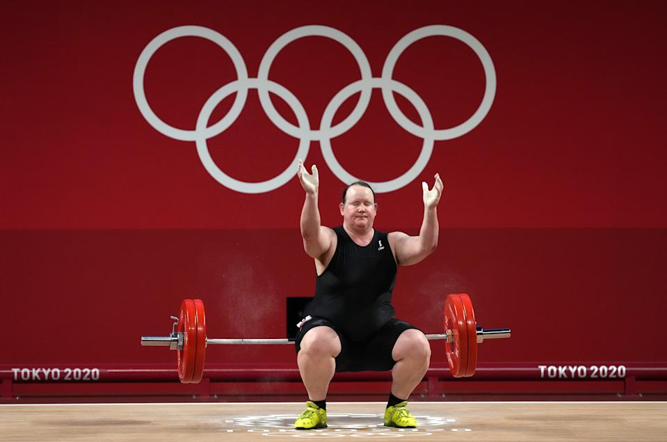 Laurel Hubbard, transgender weightlifter from New Zealand, was the only athlete to fail all three of her lifts in the women's 87+kg competition in Tokyo on Monday. (Photo by Martin Rickett/PA Images via Getty Images)