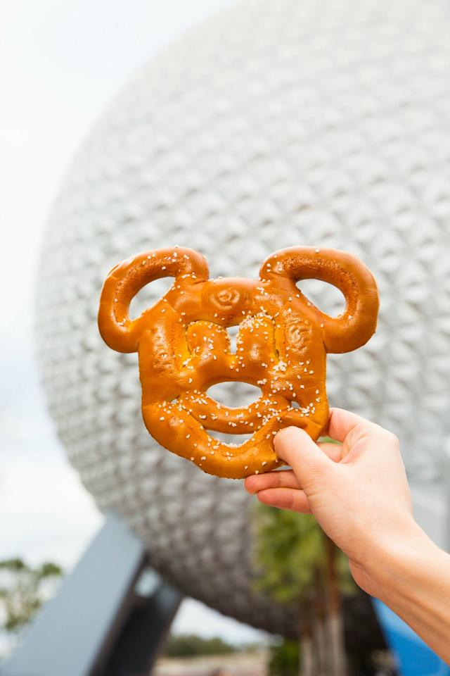 <p>These Mickey-shaped salted pretzels are a great find for vegans — unless you order yours with a side of cheddar cheese dip (which we highly recommend).</p><p><strong>Where to Find It:</strong> Animal Kingdom, Epcot, Hollywood Studios, and Magic Kingdom</p>