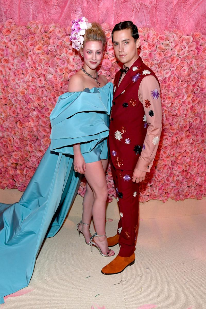 NEW YORK, NEW YORK - MAY 06: Lily Aldridge and Cole Sprouse attend The 2019 Met Gala Celebrating Camp: Notes on Fashion at Metropolitan Museum of Art on May 06, 2019 in New York City. (Photo by Kevin Mazur/MG19/Getty Images for The Met Museum/Vogue)