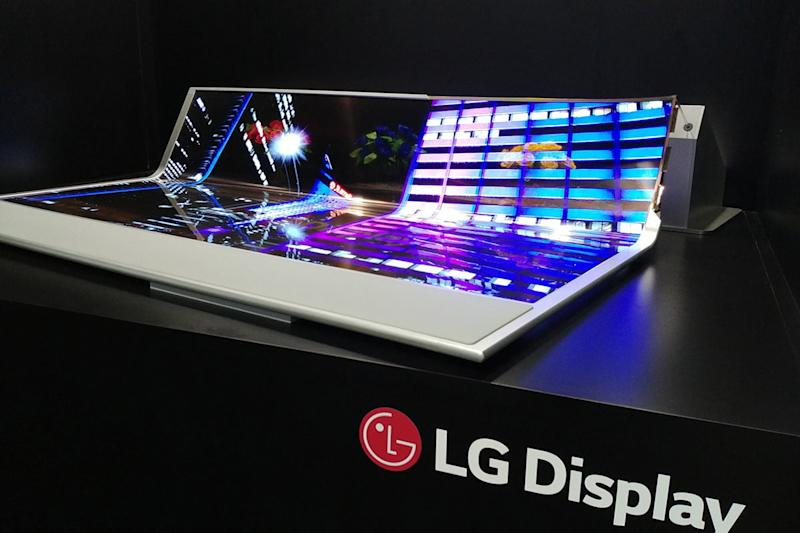 lg 77 inch transparent rollable oled sid 2018 display flexible and