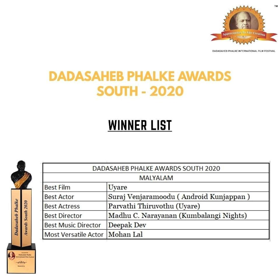Image may contain: 1 person, text that says 'Appreciation The reation DAAETEIO.PLIFESL FILMFESTIVAL DADASAHEB PHALKE AWARDS SOUTH 2020 WINNER LIST DADASAHEB PHALKE AWARDS SOUTH 2020 MALYALAM 20 Best Film Uyare Best Actor Suraj Venjaramoodu Android Kunjappan) Best Actress Parvathi Thiruvothu (Uyare) Best Director Madhu C. Narayanan (Kumbalangi Nights) Best Music Director Deepak Dev Most Versatile Actor Mohan Lal PiPre'