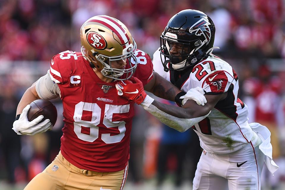 SANTA CLARA, CA - DECEMBER 15: San Francisco 49ers Tight End George Kittle (85) is tackled by Atlanta Falcons Cornerback Damontae Kazee (27) during the NFL game between the Atlanta Falcons and San Francisco 49ers at Levi's Stadium on December 15, 2019 in Santa Clara, CA. (Photo by Cody Glenn/Icon Sportswire via Getty Images)