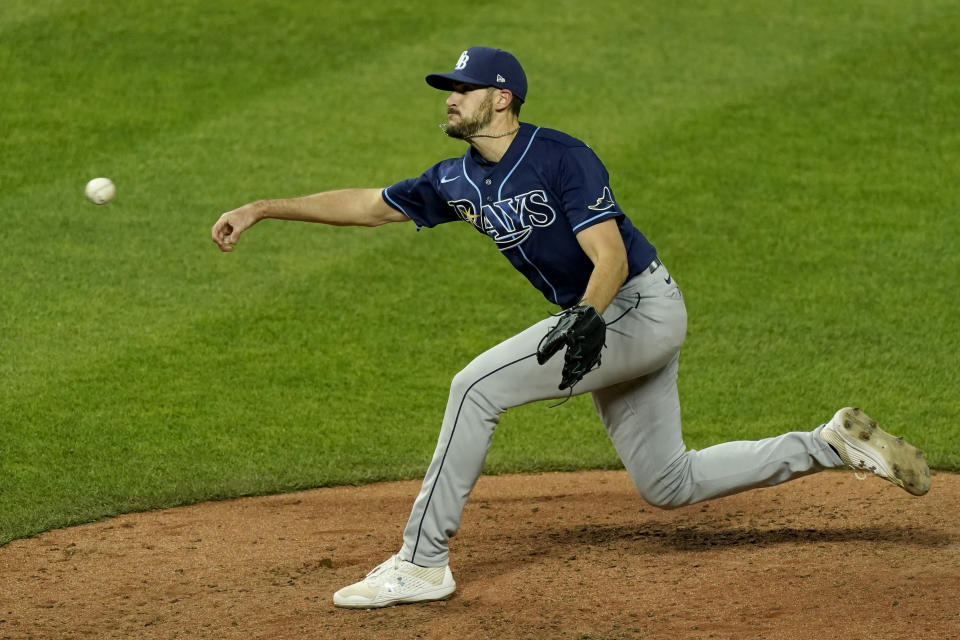 Tampa Bay Rays pitcher Ryan Thompson throws during the sixth inning of a baseball game against the Kansas City Royals, Monday, April 19, 2021, in Kansas City, Mo. (AP Photo/Charlie Riedel)