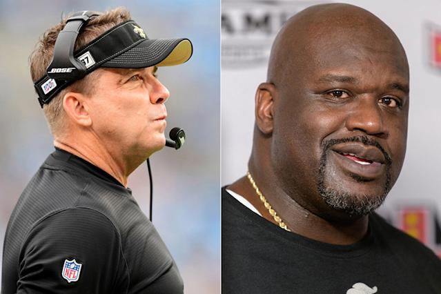 Saints coach Sean Payton and NBA legend Shaquille O'Neal. (Getty Images/2)