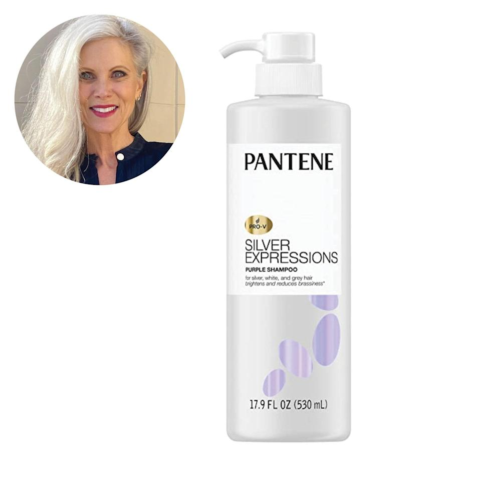 "The newly launched Pantene Stunning Silver Collection is absolutely amazing. First off, this silver shampoo collection is salon-quality and it's conveniently available at local retailers nationwide for around $10 a bottle. Second, the results speak for themselves. The formula neutralizes any yellow tones while brightening at the same time, and it doesn't turn my hair purple. The <a href=""https://amzn.to/2Qnsyav"" rel=""nofollow noopener"" target=""_blank"" data-ylk=""slk:moisturizing conditioner"" class=""link rapid-noclick-resp"">moisturizing conditioner</a> in this line also improves the texture and tone so my hair feels shiny, luscious, and full—and results last for days between washes. <em>—Lynn Shabinsky,</em> <a href=""https://www.instagram.com/whitehairwisdom/"" rel=""nofollow noopener"" target=""_blank"" data-ylk=""slk:founder of White Hair Wisdom"" class=""link rapid-noclick-resp""><em>founder of White Hair Wisdom</em></a> $15, Amazon. <a href=""https://www.amazon.com/Pantene-Expressions-Shampoo-Treated-Paraben/dp/B07XYMMMLZ"" rel=""nofollow noopener"" target=""_blank"" data-ylk=""slk:Get it now!"" class=""link rapid-noclick-resp"">Get it now!</a>"