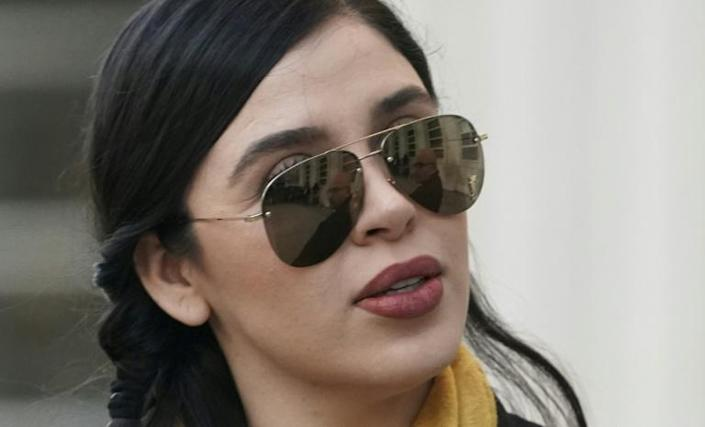 """Emma Coronel, the wife of Mexican drug lord Joaquin """"el Chapo"""" Guzman, seen during his trial on February 4, 2019"""